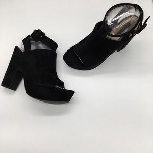 Zara Trafaluc Faux Suede Ankle Wrap Chunky Heels